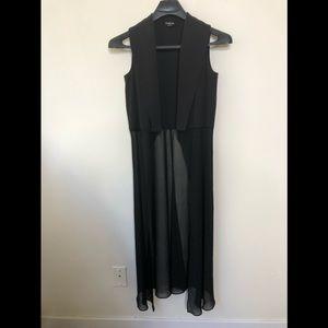 Bebe Open Front Duster Coat Black Sheer Sleeveless